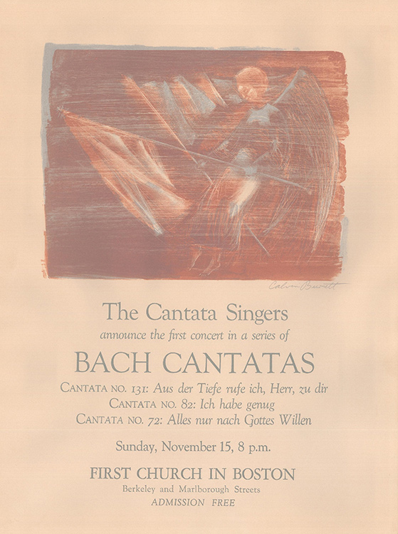 The first page of the first Cantata Singers program, listing concert repertoire and a photo of an angel holding a white flag